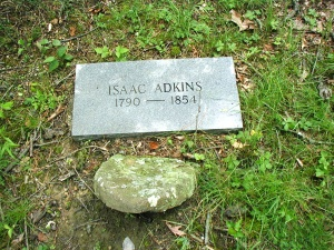 The Isaac Adkins grave is located at the Adkins Cemetery in Harts, Lincoln County, WV. Isaac (1790-1854), my great-great-great-great-great-grandfather was the second-largest slave-owner in Logan County in 1850