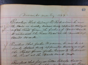 Andrew D. Robinson is appointed road supervisor, November 1867 (p. 49). Commissioners Record Book 1, Logan County Clerk's Office, Logan, WV.