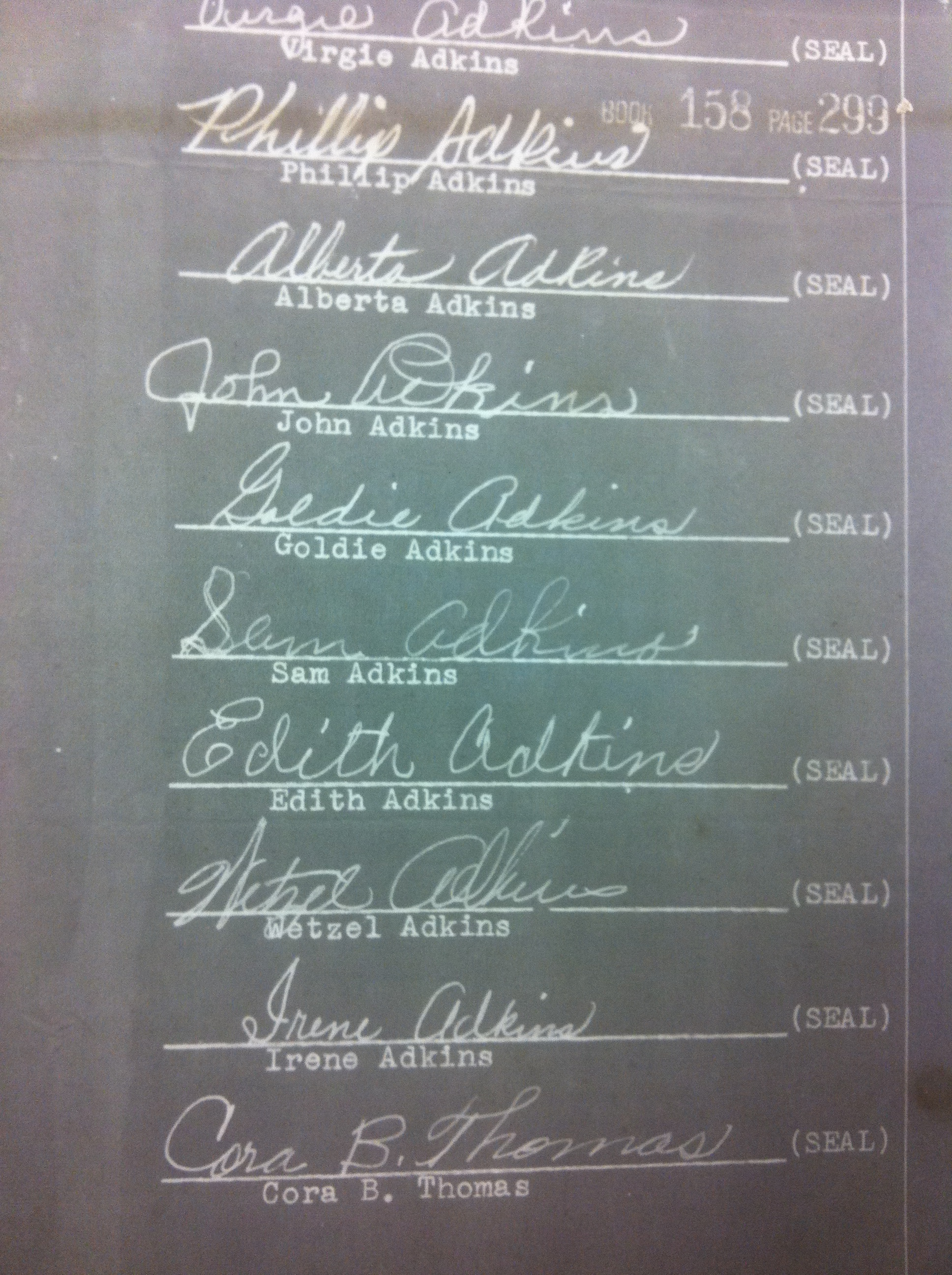 Adkins Family Signatures