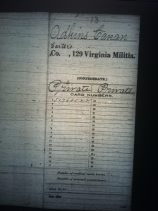 Cain Adkins military record 1