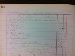 Jim Vance, Sr. appraisement bill, 11 June 1888. Source: Appraisement Bill Sale Book 1 (p. 126), Logan County Clerk's Office, Logan, WV.