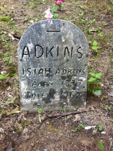 Isaiah Adkins grave, located at the Adkins cemetery in Harts, Lincoln County, WV. Isaiah was the son of Jacob K. and Malinda (Williamson) Adkins