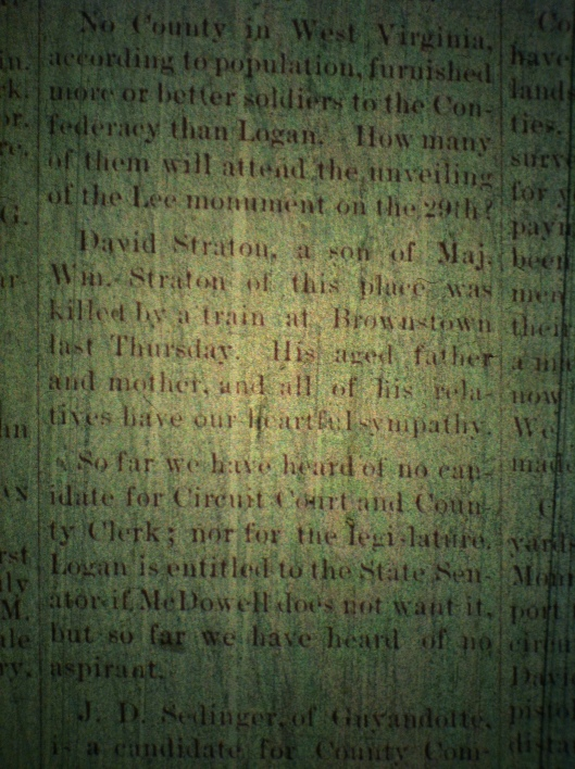 David Straton killed by train LCB 05.22.1890