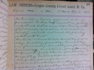 State v. Frank Phillips and others, 5 April 1888, Law Orders Book E, 1887-1890 (p. 107), Logan County Clerk's Office, Logan, WV.