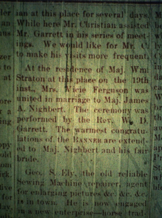Major Nighbert marries LCB 12.26.1889