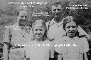 Pat and Eva (Brumfield) Kirk with daughters, Lois and Iris. They are my great-grandparents. For most of their lives, they lived on Piney Fork of West Fork of Harts Creek in Logan County, Pigeon Creek in Mingo County, and Ferrellsburg in Lincoln County. They married on 30 August 1911 (my birthday).