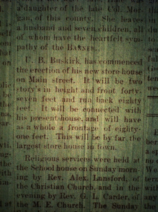 U.B. Buskirk store LCB 12.19.1889