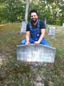 Here I am visiting the graves of William R. and Emily (Fry) Lucas, my great-great-great-grandparents. Location: Billy Branch of Sulphur Spring Fork of Fourteen Mile Creek in Lincoln County, WV.