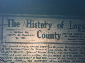 "Henry Clay Ragland's ""History of Logan County"" was originally printed in the Logan County Banner in 1895. Source: Logan Banner, 01 Nov 1924"