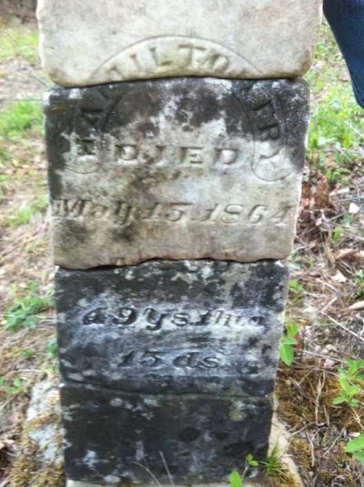 Hamilton Fry grave, located at Leet on Big Ugly Creek, Lincoln County, West Virginia (2013).
