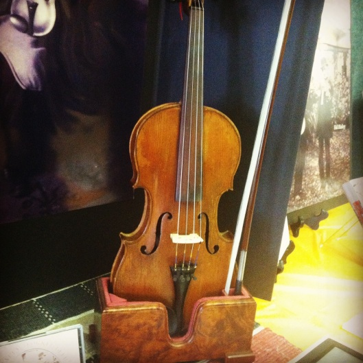 Ed Haley's fiddle on display at the 2015 Ed Haley Memorial Fiddle Contest in Ashland, Kentucky. 19 September 2015