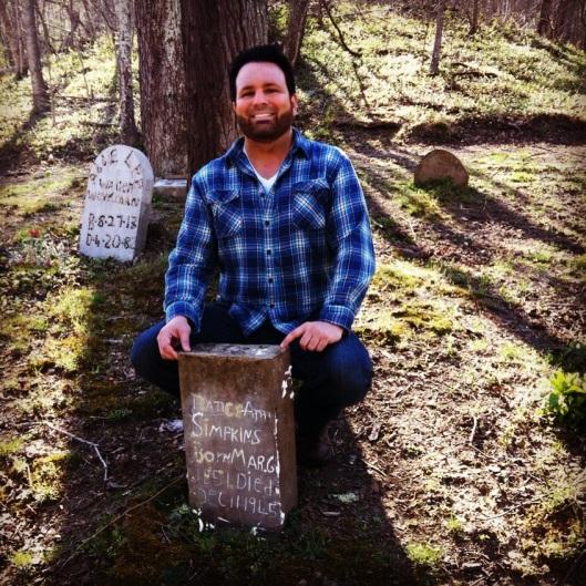 BK at Nan Simpkins grave.JPG