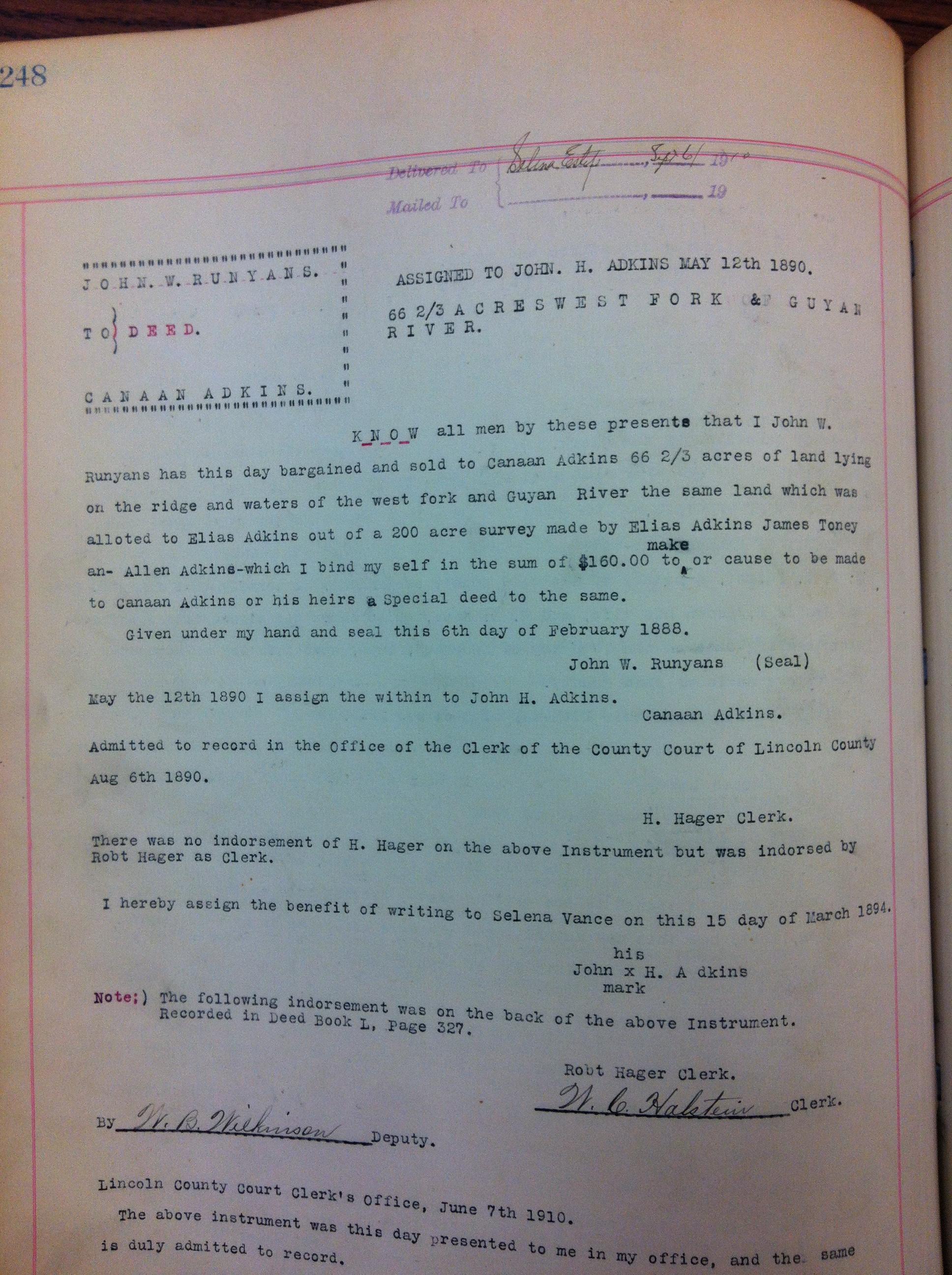 John W. Runyon to Canaan Adkins DB52 1888 6.JPG