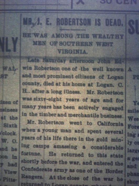 J.E. Robertson of Logan Dead HuA 09.26.1898 1