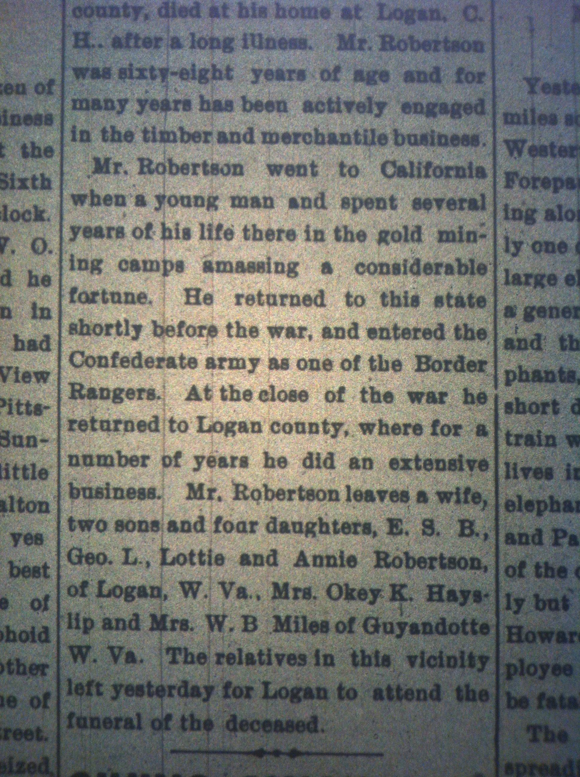 J.E. Robertson of Logan Dead HuA 09.26.1898 2