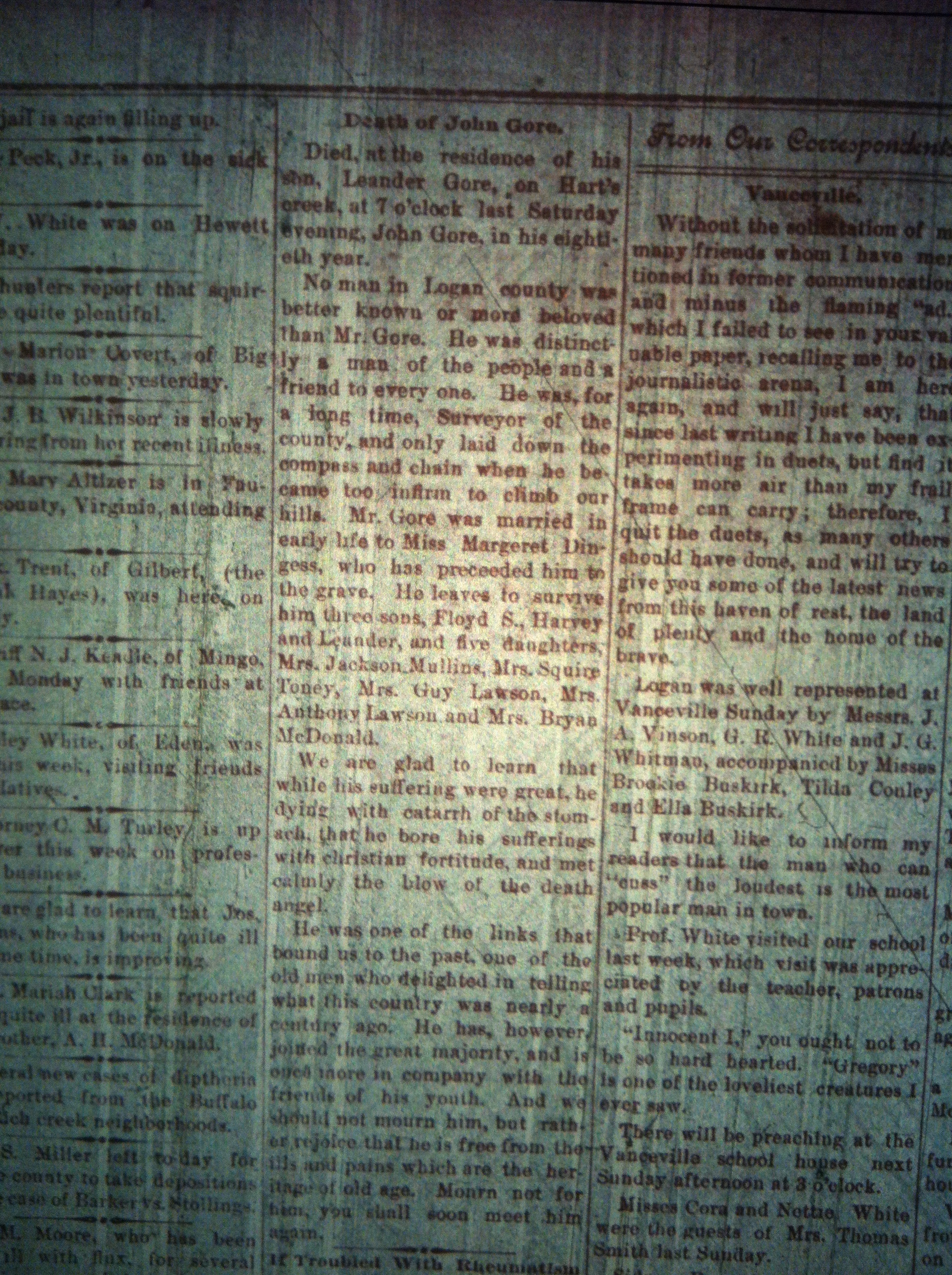 John Gore Obit 1 LCB 10.9.1895