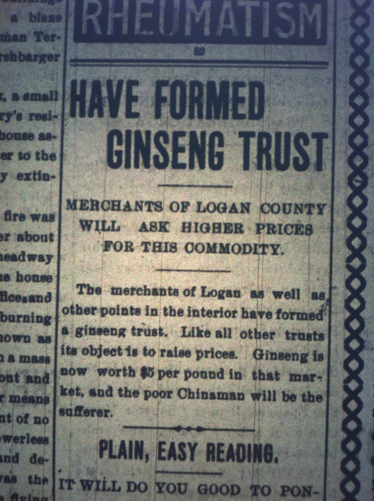 Logan Ginseng Trust Formed HA 10.09.1899