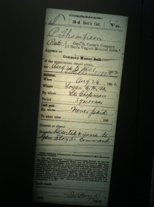 P Thompson military record 2