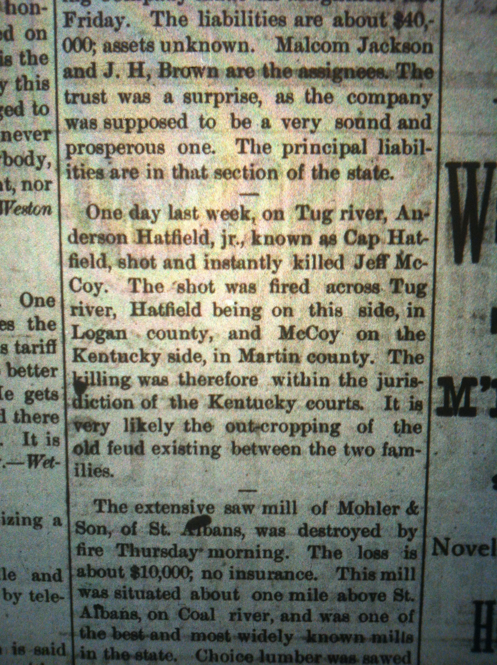 Cap Hatfield Shoots Jef McCoy PS 12.11.1886
