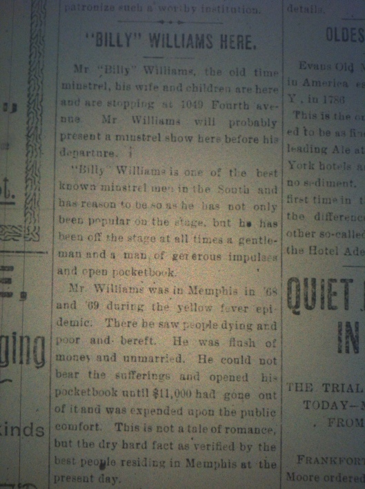 Minstrel Billy Williams in Huntington HA 03.23.1900 1