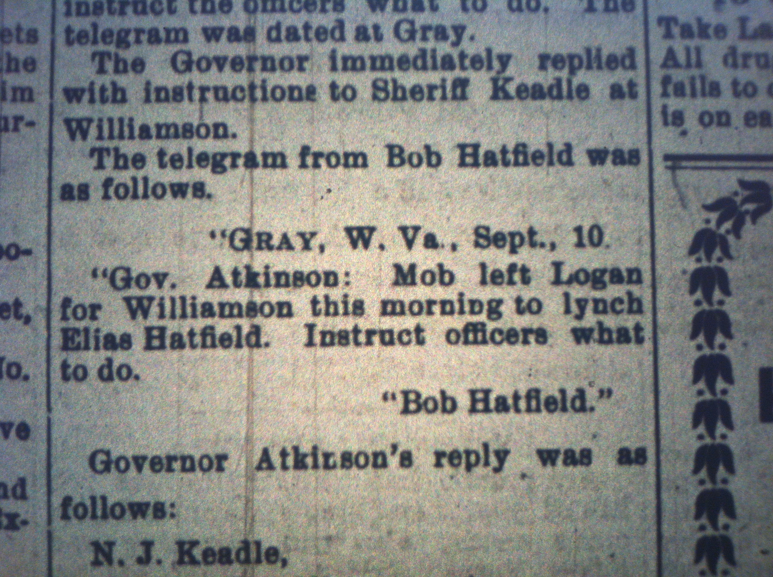 Mob Formed to Lynch Elias Hatfield HA 09.11.1899 4