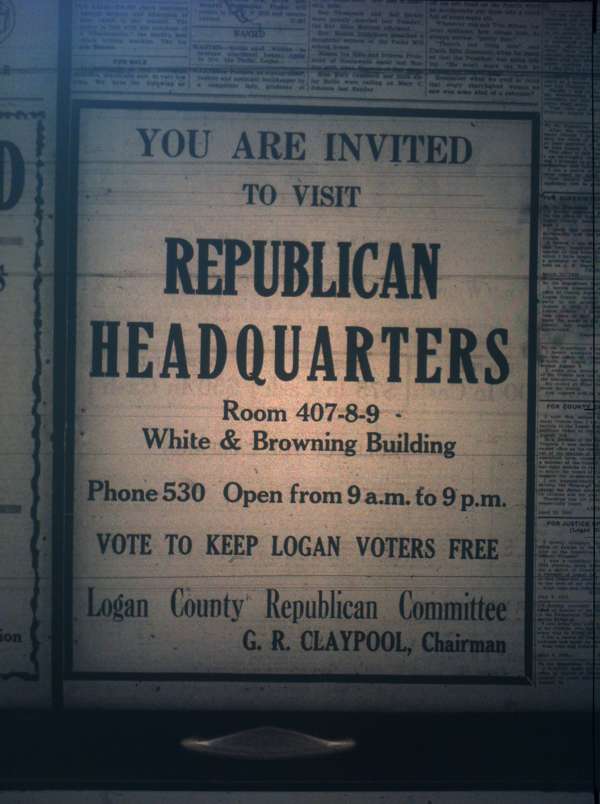 Republican HQ in Logan Ad LB 07.23.1926.JPG