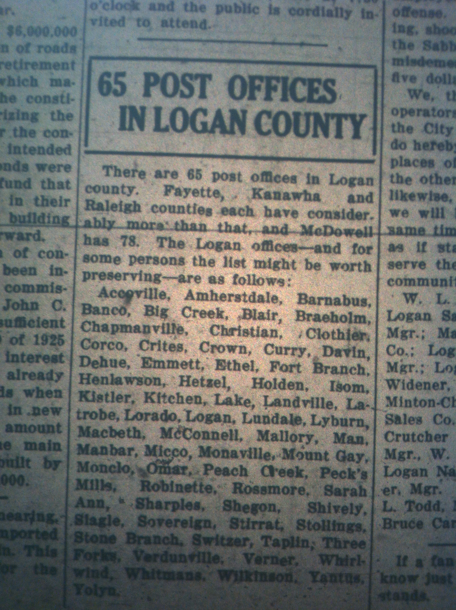 65 Post Offices in Logan County LB 09.24.1926.JPG