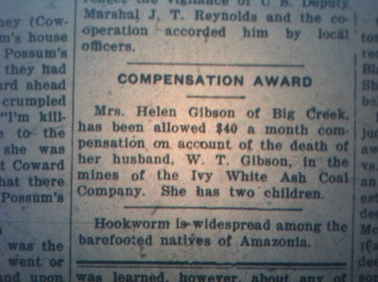 Compensation for Dead Miner's Wife LB 11.02.1926