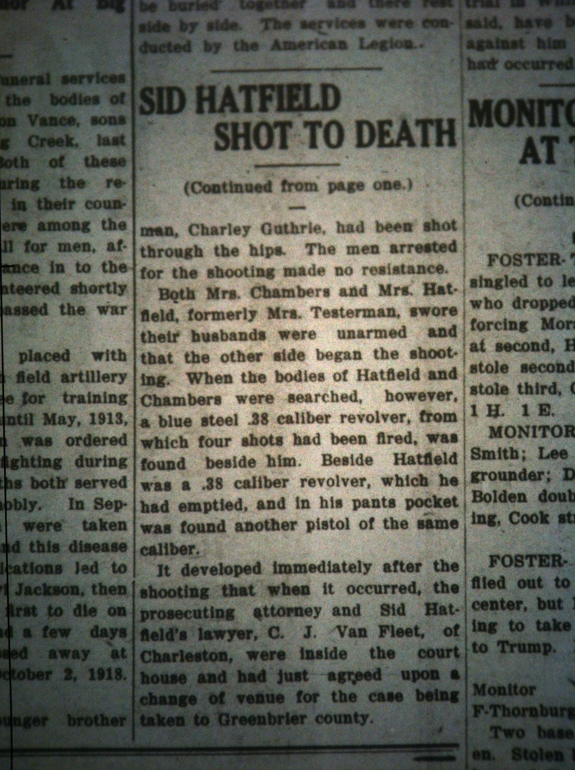 Sid Hatfield Shot to Death LB 08.05.1921 5