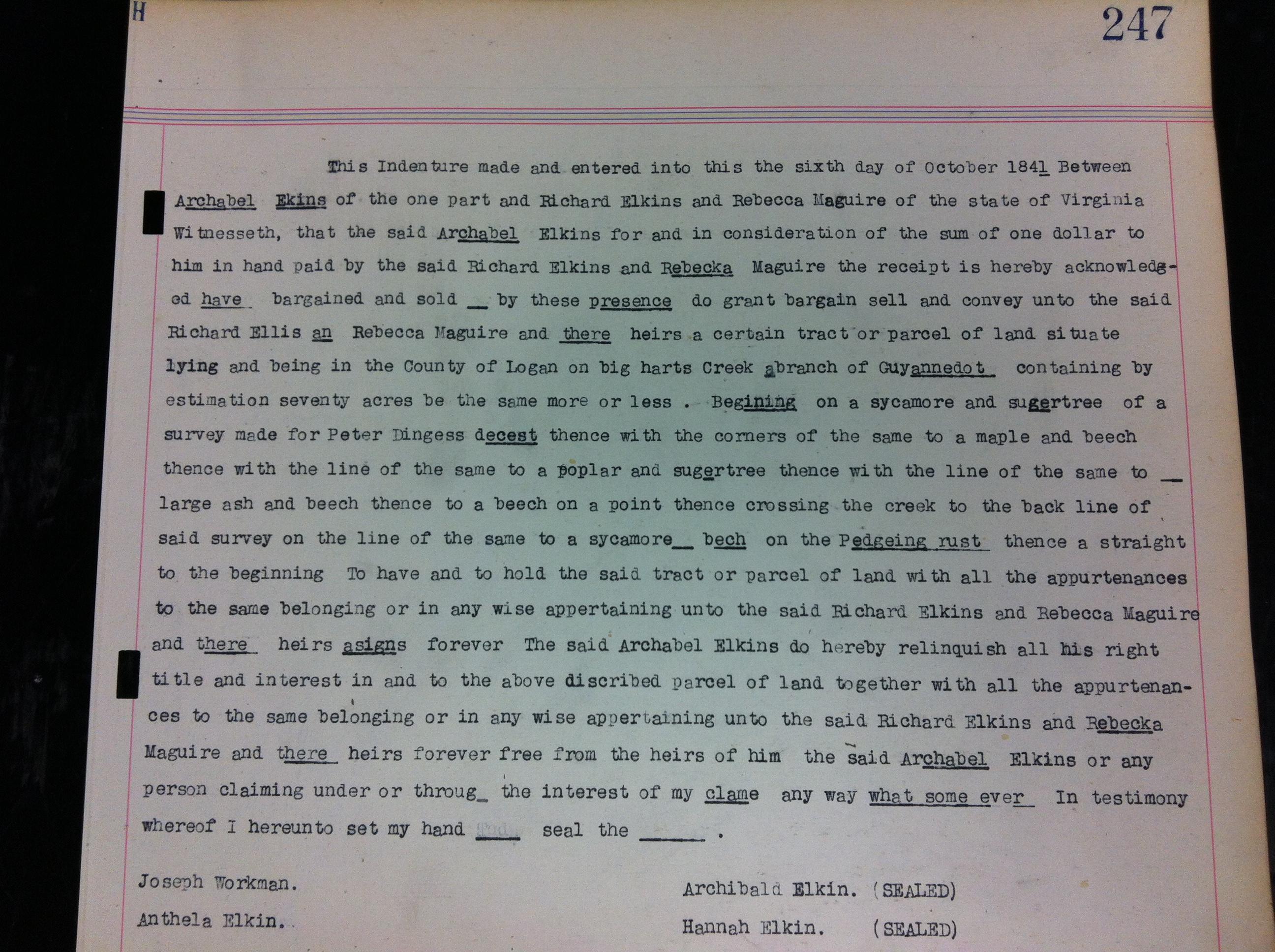 Archibald Elkins to Richard Elkins Deed 1841 1