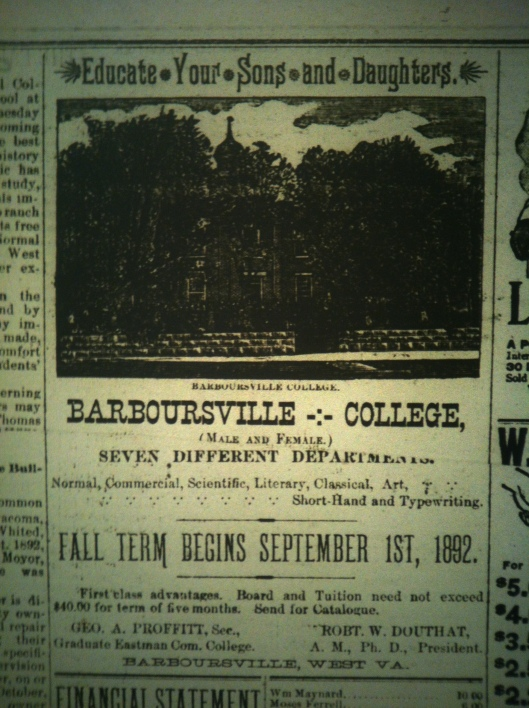 Barboursville College LCB 09.08.1892