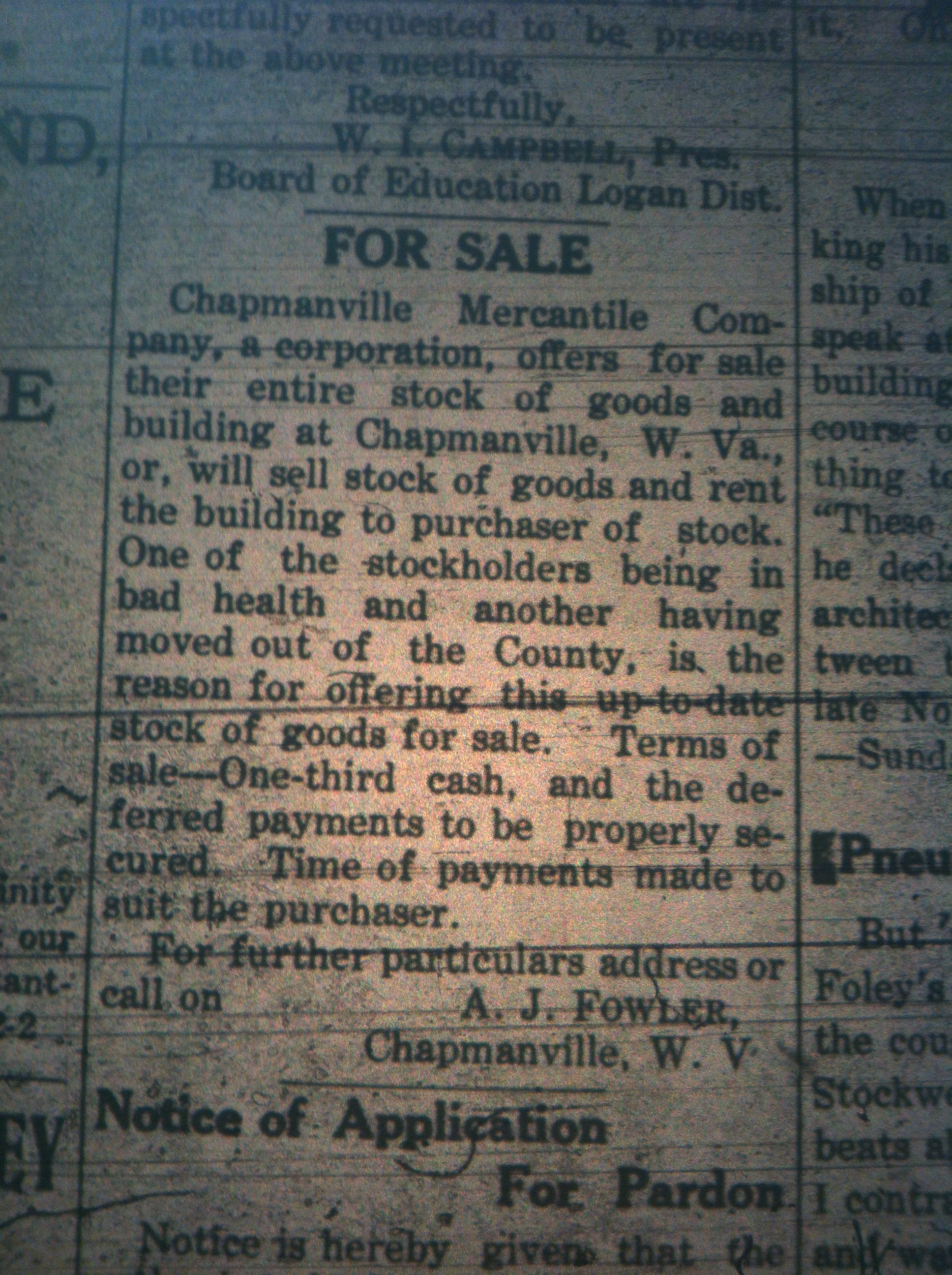 Chapmanville Mercantile Company Ad LD 02.09.1911.JPG