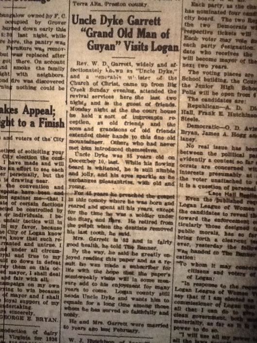 Dyke Garrett Visits Logan LB 04.05.1927