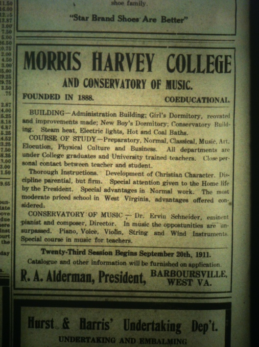 Morris Harvey College LD 08.10.1911