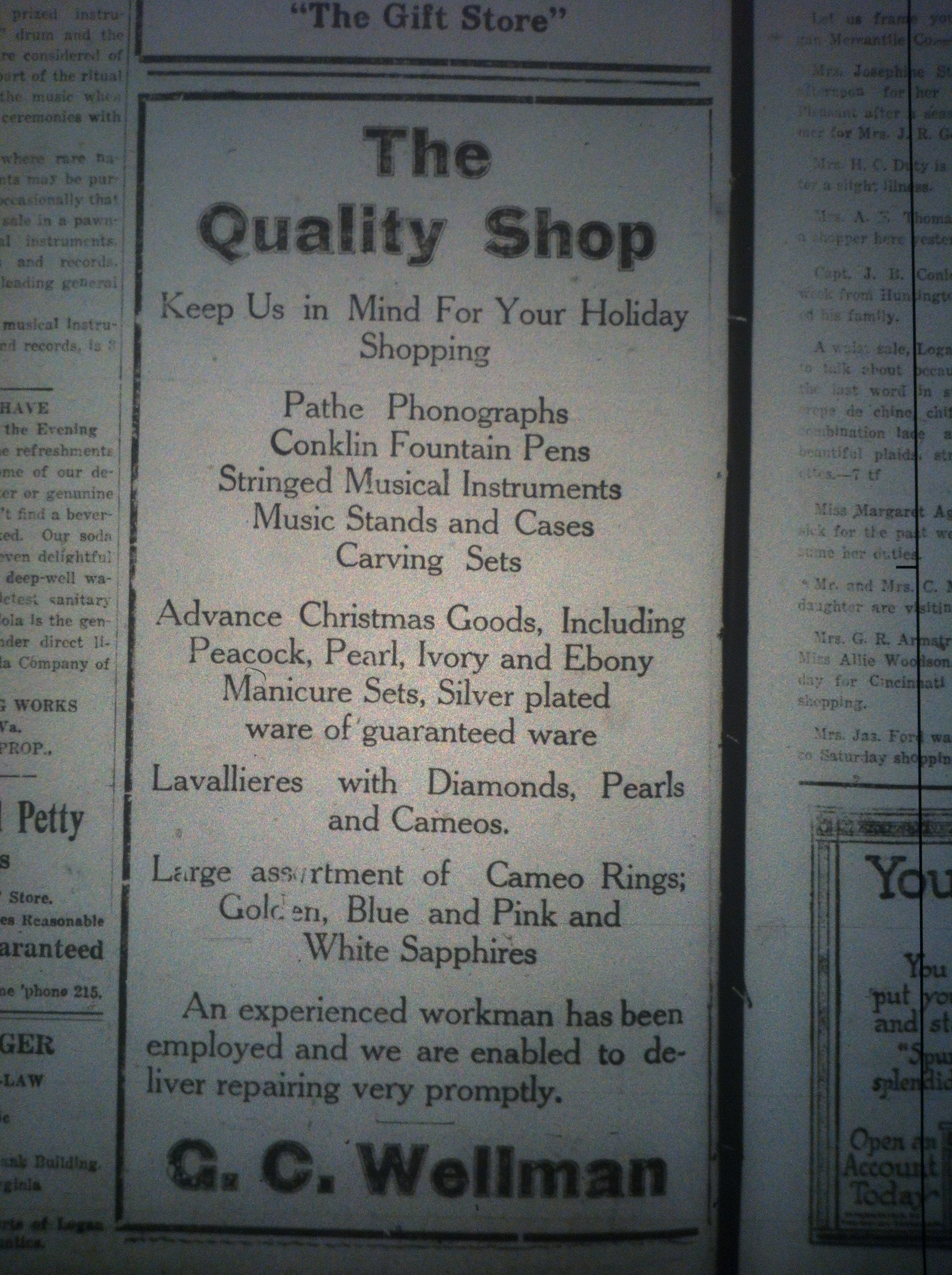 The Quality Shop Ad LD 12.14.1916.JPG