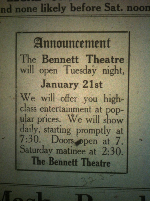 Bennett Theatre Advertisement LB 01.17.1913