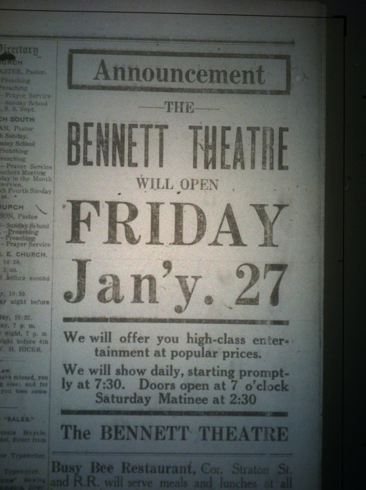 Bennett Theatre Advertisement LB 01.24.1913