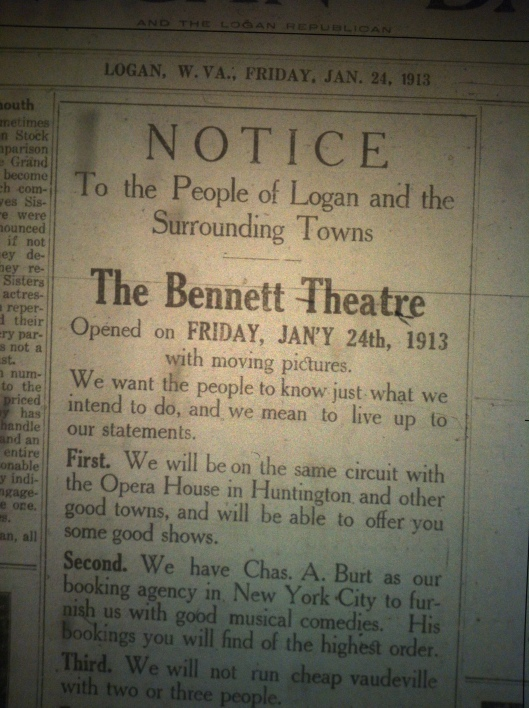 Bennett Theatre Announcement LB 01.24.1913.JPG