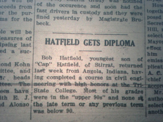Cap Hatfield's Son Gets Diploma LB 06.10.1927