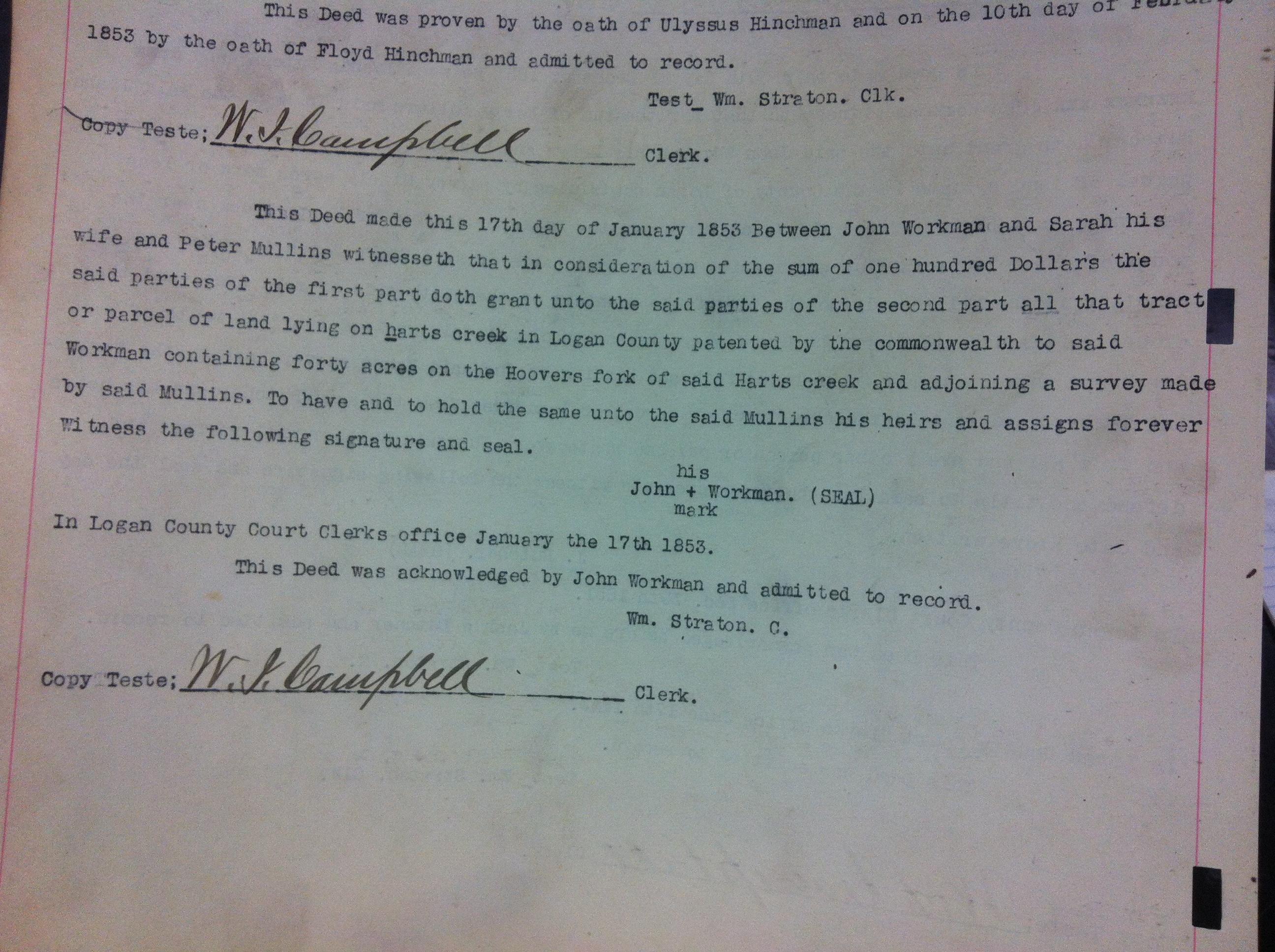 John Workman to Peter Mullins 1853 1.JPG