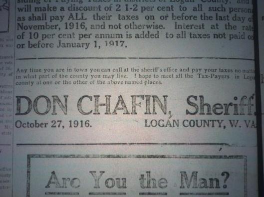 Sheriff Don Chafin Ad LD 11.23.1916.JPG