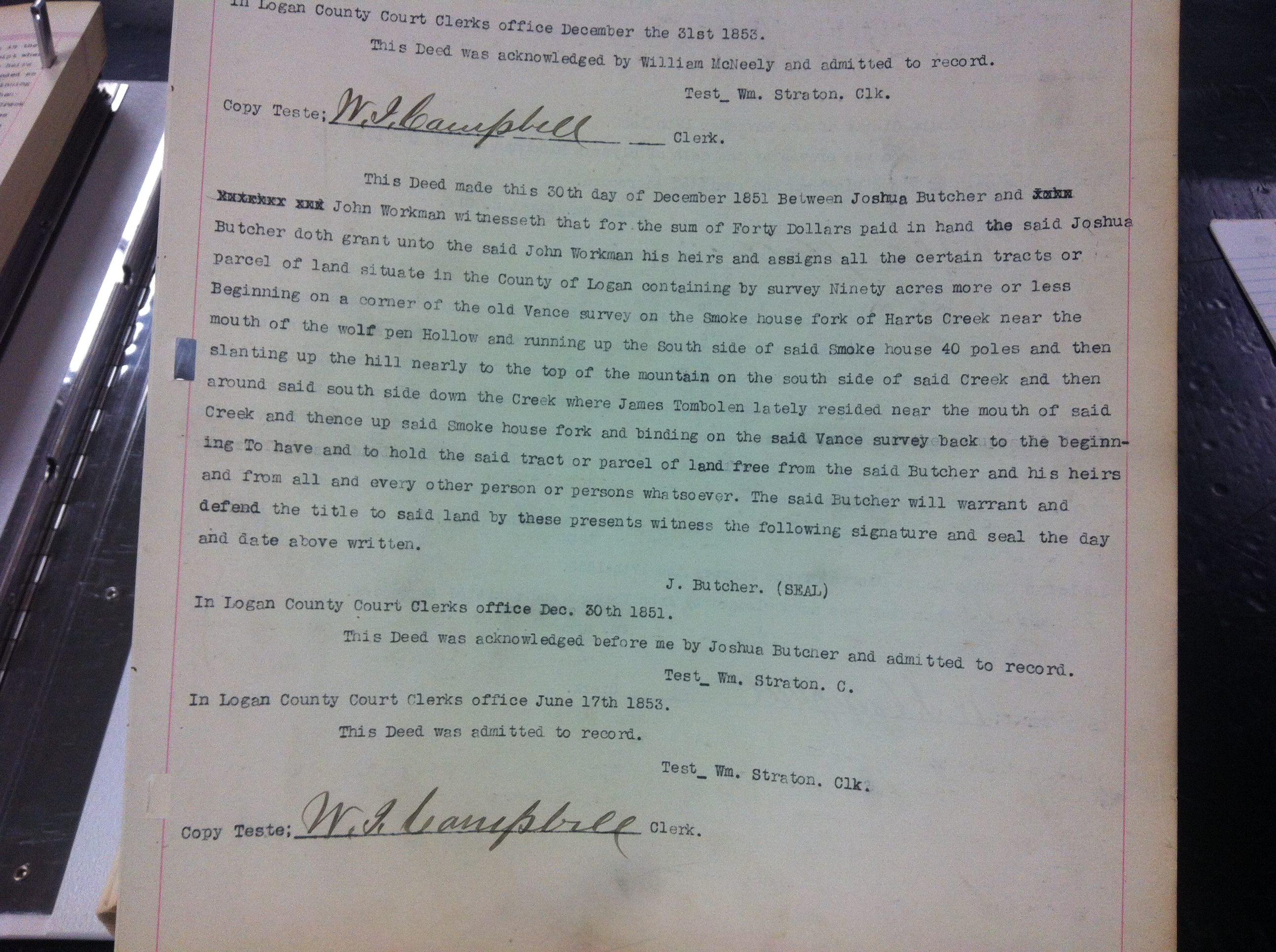 Josh Butcher to John Workman 1852 1.JPG
