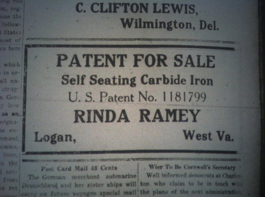 Rinda Ramey Patent for Sale LD 01.11.1917.JPG