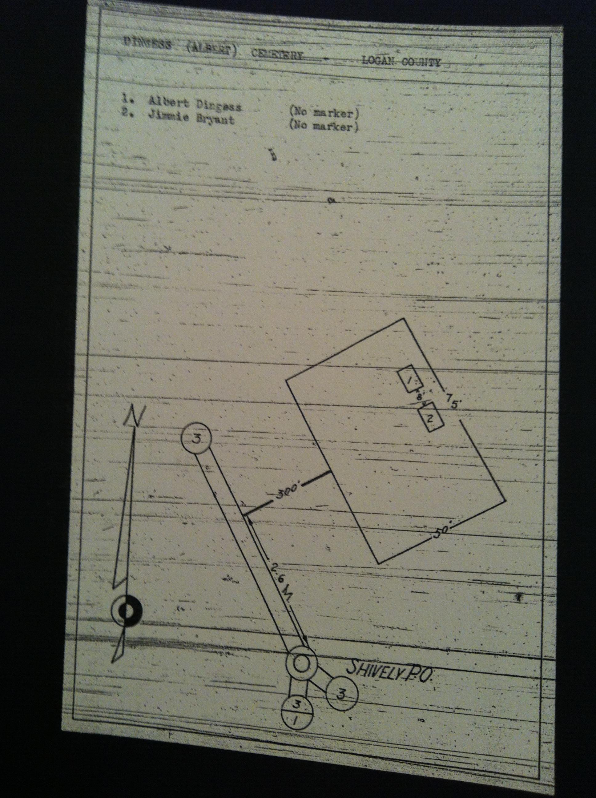 Albert Dingess Cemetery Map