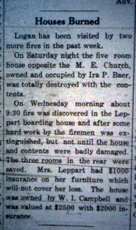 Fires in Logan LD 11.28.1912