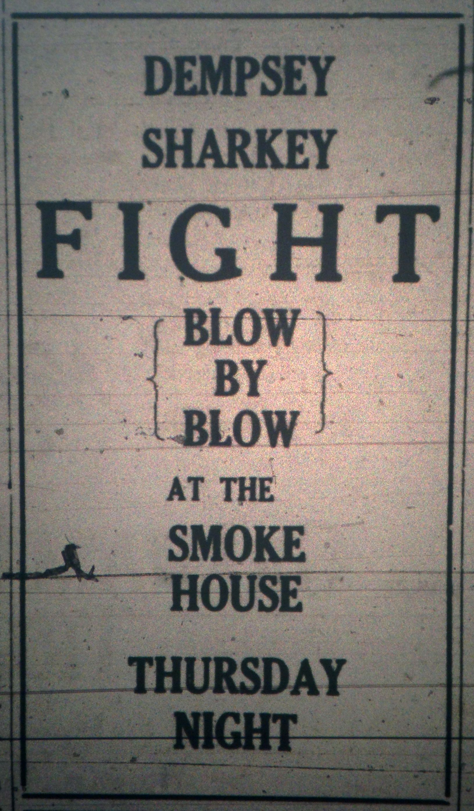 Dempsey-Sharkey Fight at the Smoke House Ad LB 07.19.1927