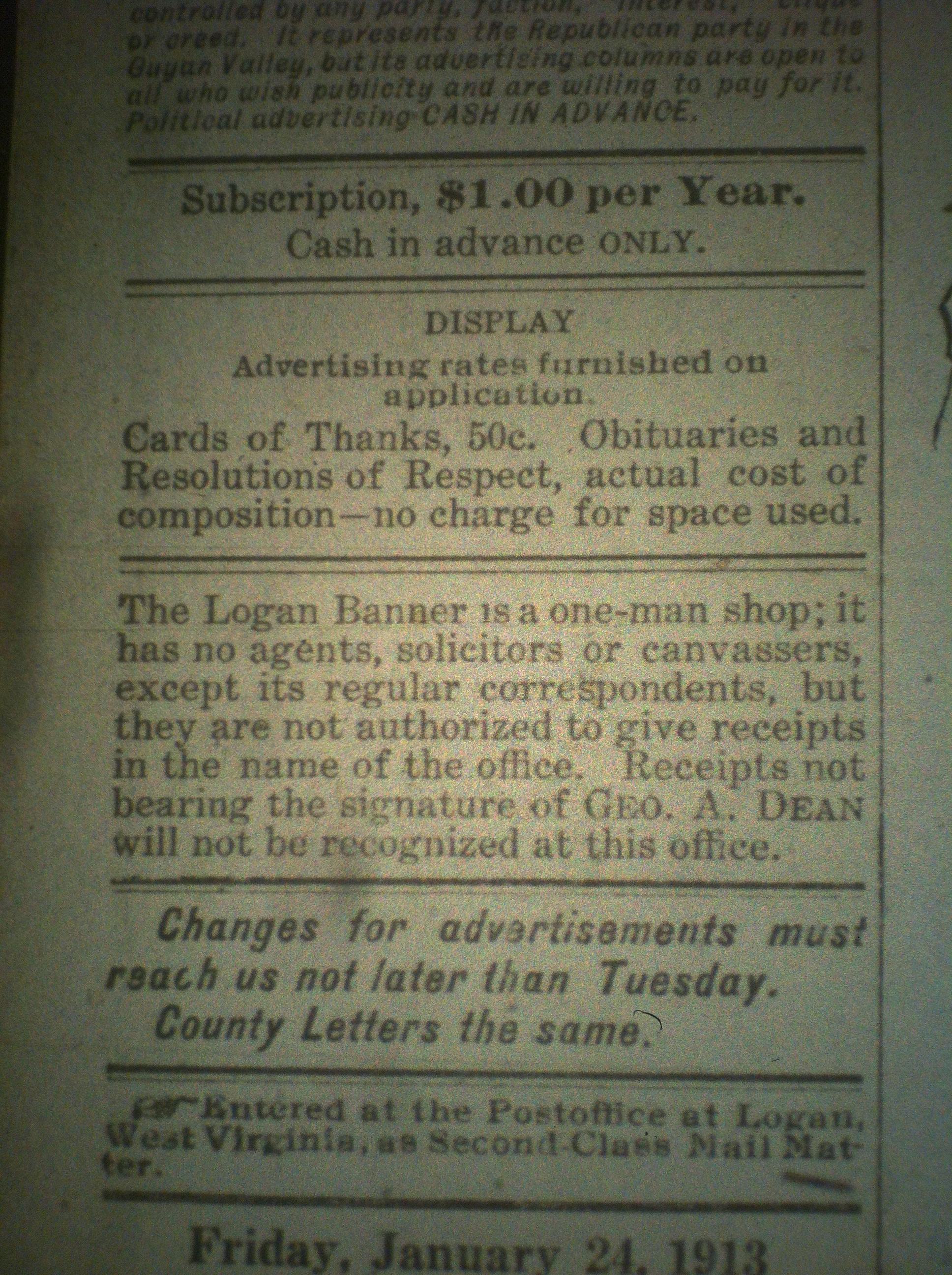 George A. Dean Logan Banner LB 01.24.1913.JPG