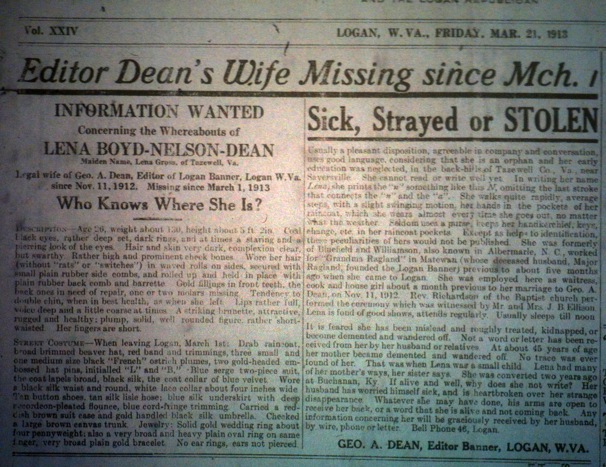 George A. Dean's Wife Missing LB 03.21.1913 1