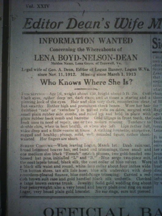 George A. Dean's Wife Missing LB 03.21.1913 2