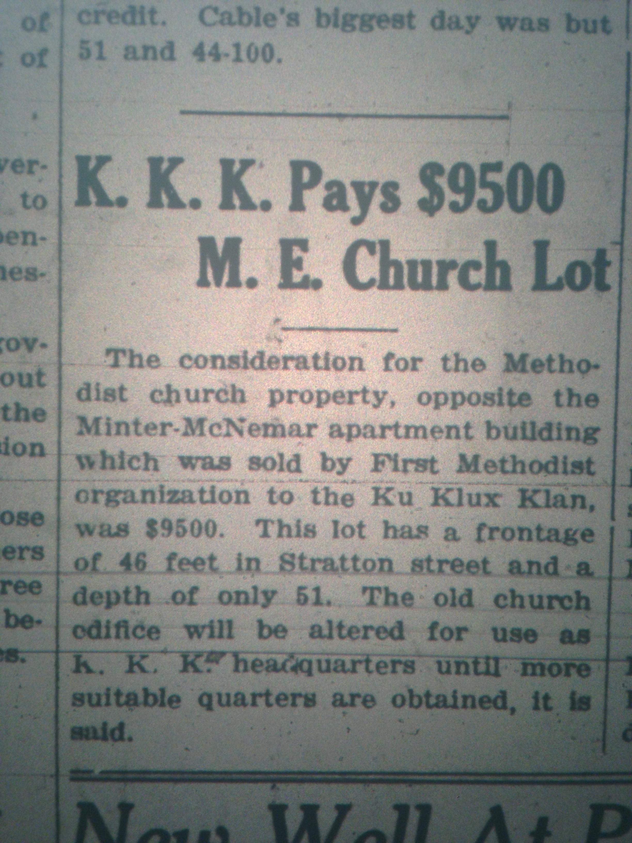 KKK Buys Lot in Logan LB 12.23.1927